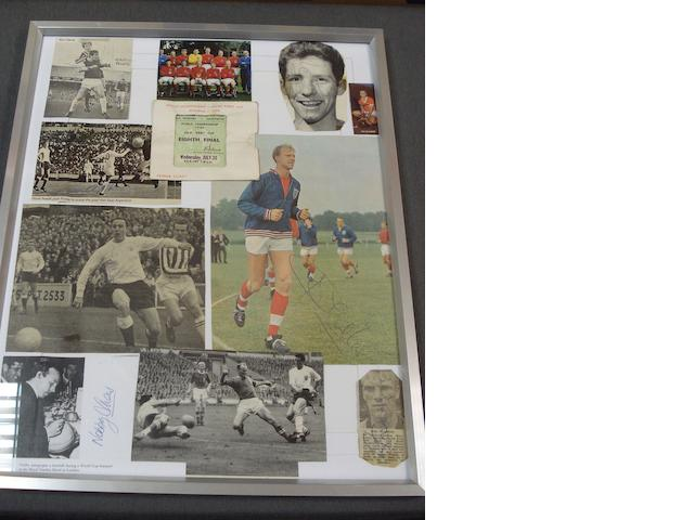 World Cup 1966; 9 signed photo's and match ticket, framed as one
