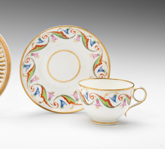 A rare Swansea teacup and saucer, circa 1815-17
