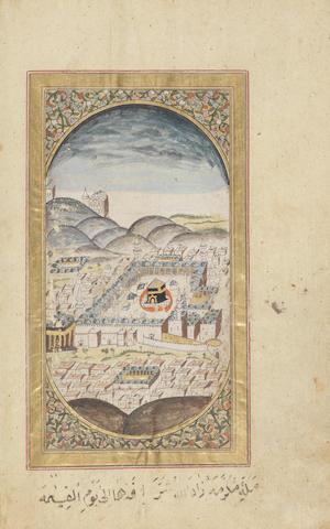 Al-Jazuli, Dala'il al-Khayrat wa Shawariq al-Anwar, with two illustrations of the holy cities of Mecca and Medina, copied by Mustafa Effendi, Imam Kilar, and illuminated by Hafiz Muhammad (Kitab Khaneh Khaseh) Ottoman Turkey, dated AH 1191/AD 1777-78