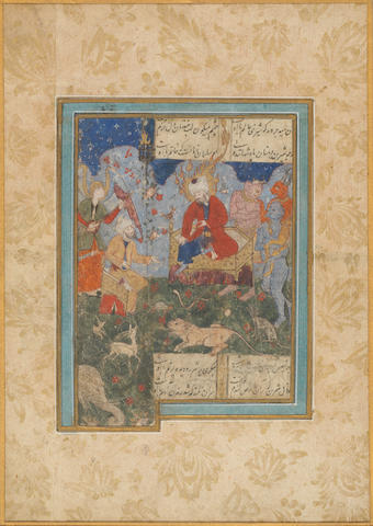 Four illustrated leaves from dispersed manuscripts of Persian poetry Persia, Tabriz and Shiraz, 16th Century(4)