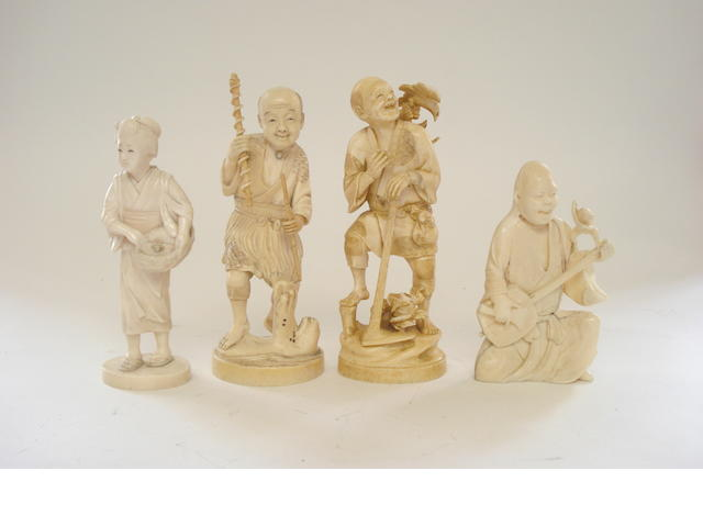 Three ivory figure groups and another Late 19th/early 20th century