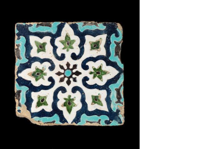 A Timurid cuerda seca pottery Tile Uzbekistan, late 14th/ early 15th Century
