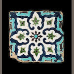 A Timurid cuerda seca pottery Tile Uzbekistan, late 14th/ early 15th Century