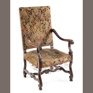 A Franco-Flemish high-back fruit-wood and upholstered armchair 19th century