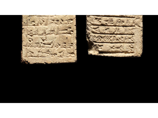 Two Babylonian cuneiform inscribed clay bricks