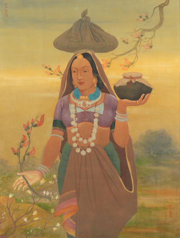 A maiden in a landscape Bengal School, early 20th Century