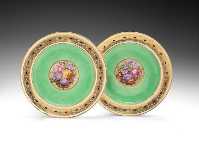A rare pair of rare Derby plates circa 1790