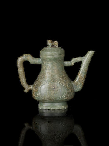 A green jade ewer and cover, 16th/17th century