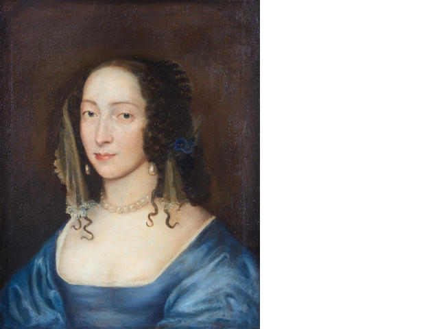 Circle of Theodore Russell (London 1614-1689) Portrait of a lady, bust-length, in a blue dress and pearl necklace