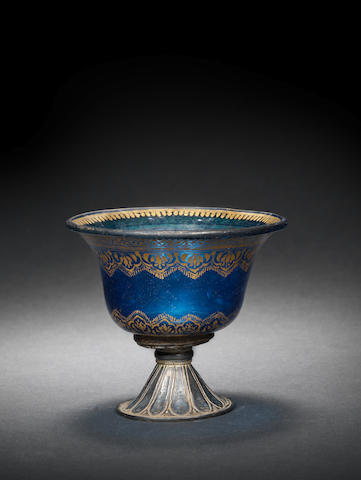 A Mughal cobalt blue glass Cup with later silver mount North India, Late 18th Century