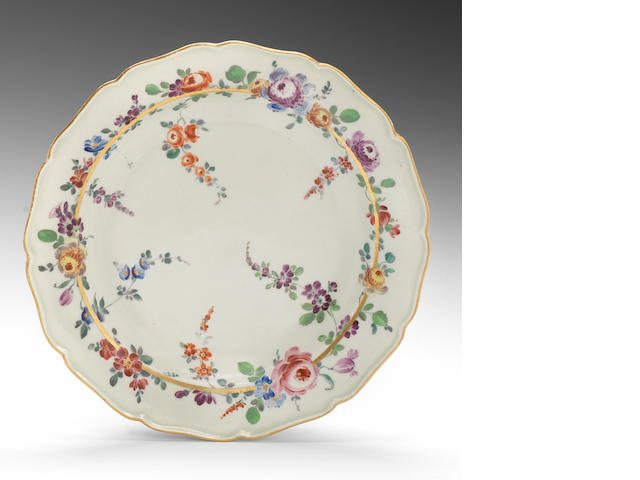 A Worcester plate decorated in the Giles workshop, circa 1770