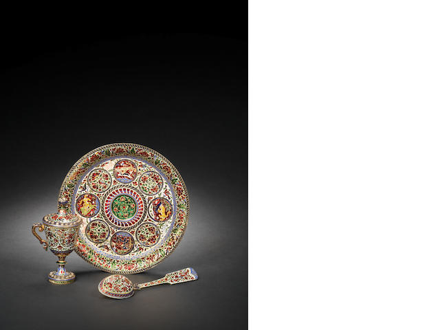A Jaipur diamond-set enamelled gold ????? Set India, 19th Century(4)