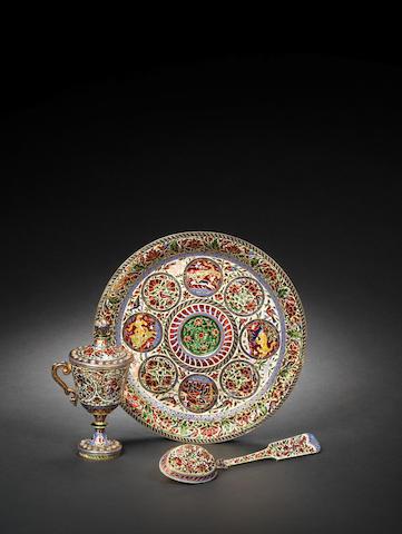 A Jaipur diamond-set enamelled gold ????? Set India, 19th Century(4)