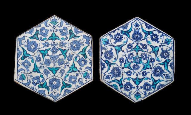 Two Iznik cobalt and turquoise hexagonal pottery Tiles Turkey, circa 16302