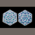 Two Iznik cobalt and turquoise hexagonal pottery Tiles Turkey, circa 16302