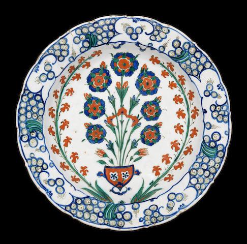 A fine Iznik polychrome pottery Dish Turkey, circa 1570-1580