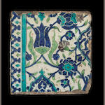 A Damascus underglaze-painted pottery border Tile Syria, 18th Century