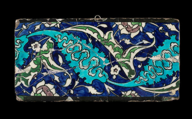 An Iznik polychrome pottery border Tile Turkey, circa 1550