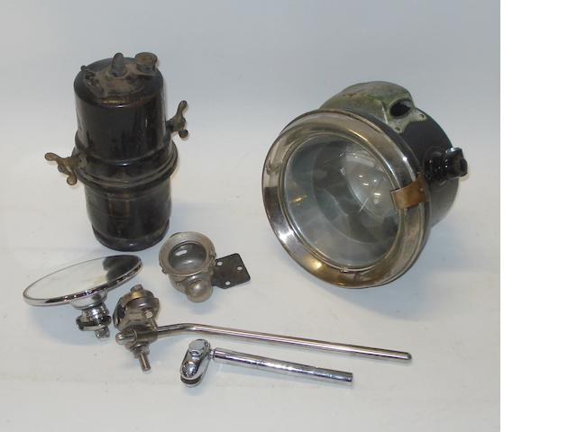 A Lucas No.420 acetylene headlamp,