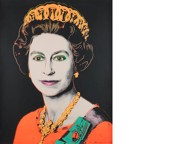 Andy Warhol (American, 1928-1987) Queen Elizabeth II (from Reigning Queens) Screenprint, 1985, a trial proof aside form the edition of 40, on Lennox Museum Board, signed and numbered /30 in pencil lower right, printed by Rupert Jasen Smith, New York, published by George CP Mulder, Amsterdam, 1000 x 800mm (39 3/8 x 31 1/2in)(SH)