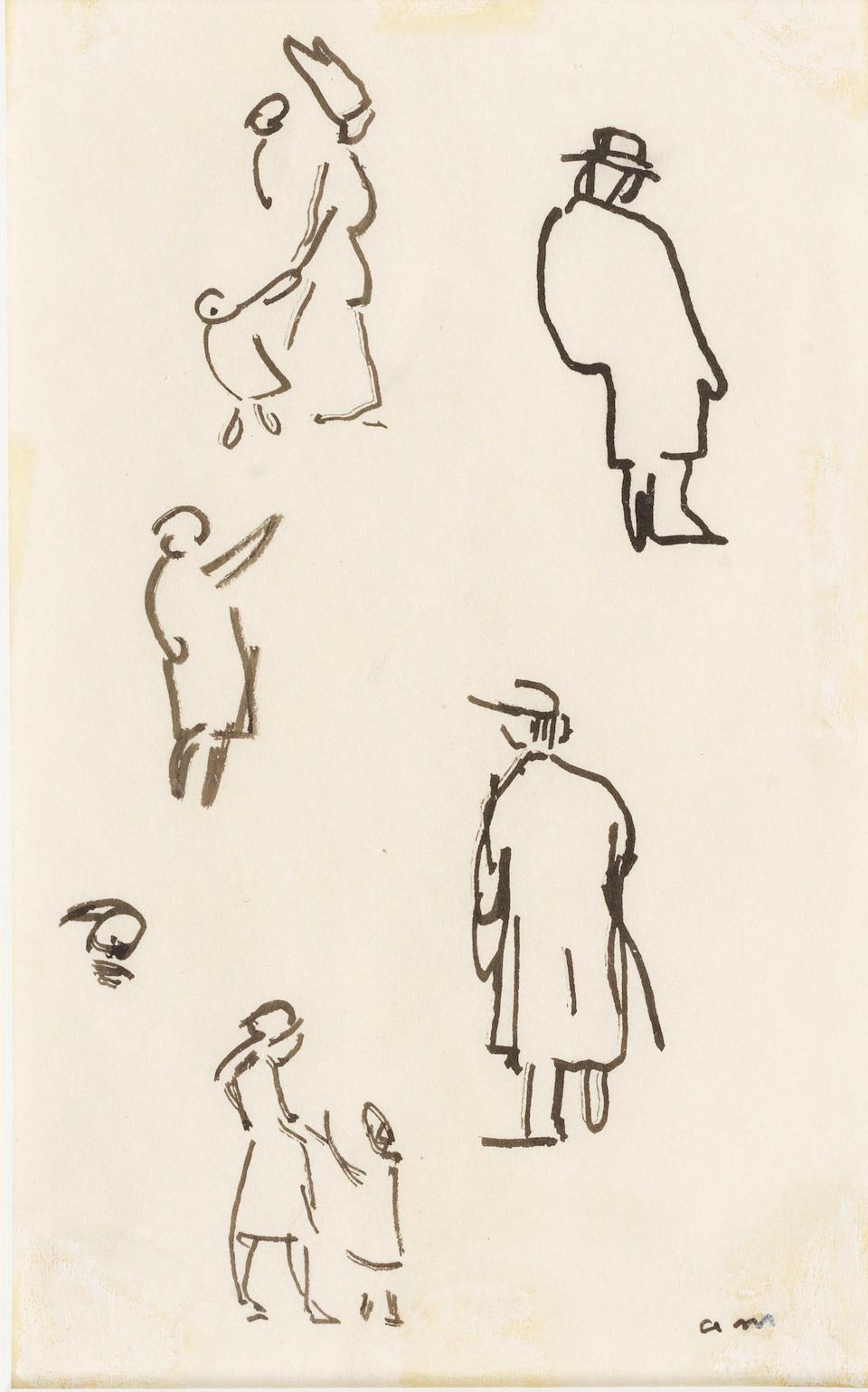 Albert  Marquet (1875-1947) Extrait du carnet de croquis (recto); Nu (verso) 22 x 33.5cm (8 11/16 x 13 3/16in).