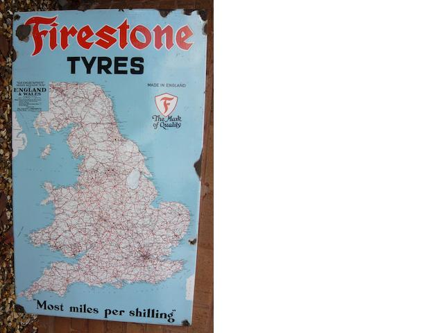 A Firestone Tyres enamel map sign,