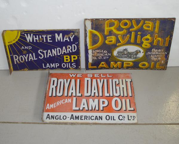 Three enamel signs for Royal Daylight and Royal Standard Lamp Oils,