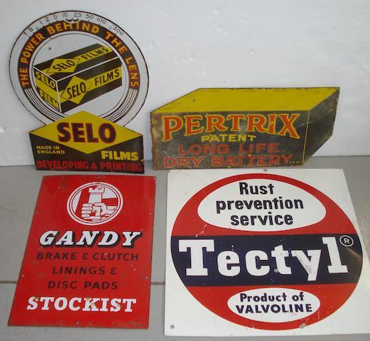 Four garage advertising signs,