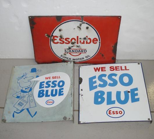 Three Esso enamel advertising signs,