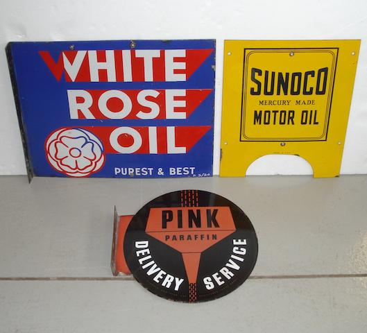 A 1934 White Rose Oil double-sided enamel sign,