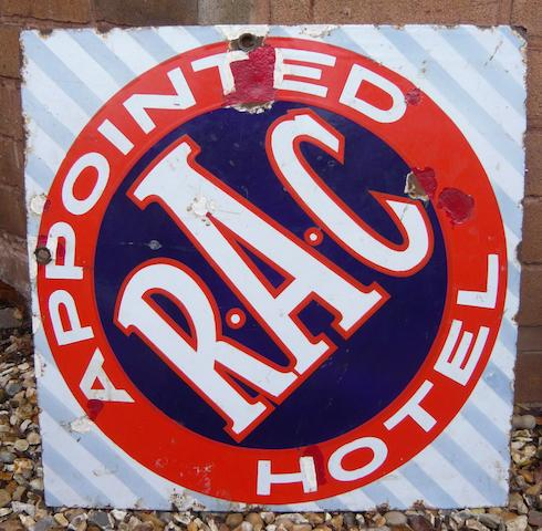 An RAC Appointed Hotel double-sided enamel sign,