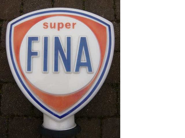 A Super Fina shield-shaped glass petrol pump globe,