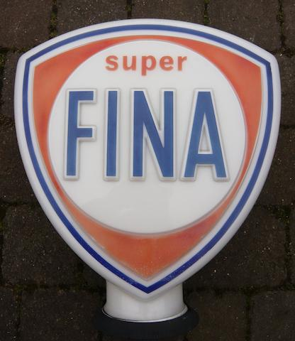 A Super Fina shield-shaped glass petrol pump globe,