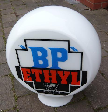 "A ""BP"" Ethyl replacement glass petrol pump globe,"