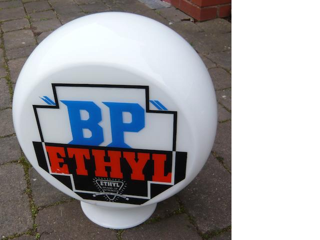 "A ""BP"" Ethyl reproduction glass petrol pump globe,"