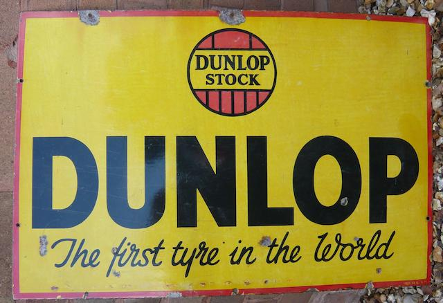 A Dunlop 'The First Tyre in the World', stockist's enamel sign,