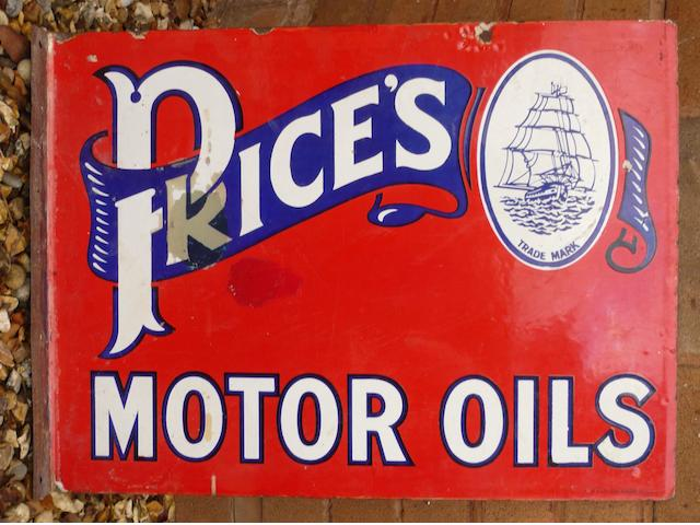 A Price's Motor Oils double-sided enamel sign,