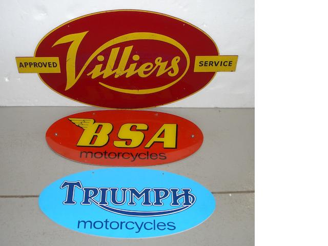 Three showroom signs for Villiers, Triumph and BSA,