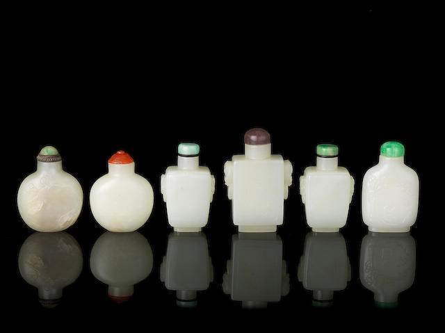 Six white jade snuff bottles and stoppers
