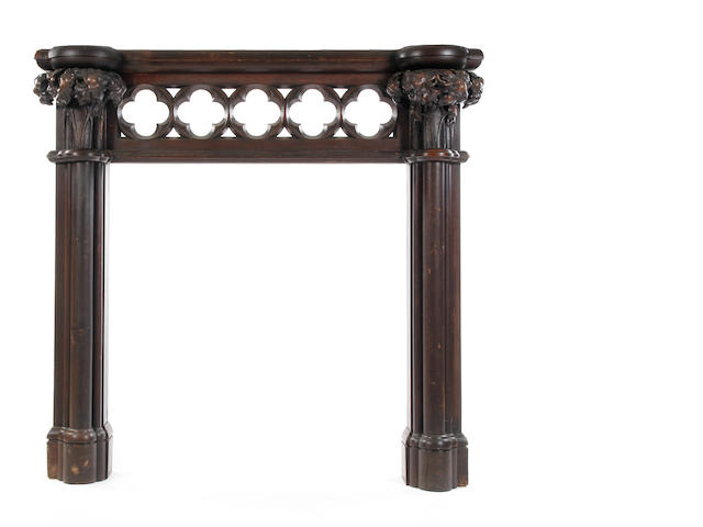 19th century Gothic oak mantle piece