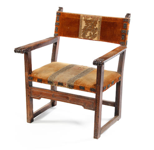 A late 17th century walnut open armchair, Spanish