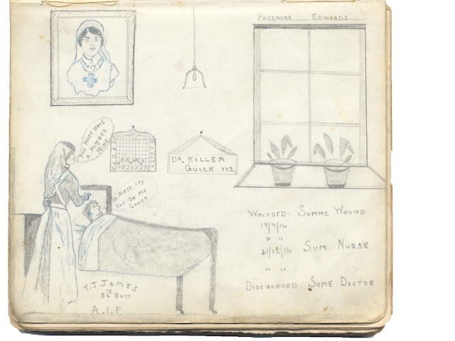 WORLD WAR ONE - Patients autograph book kept by Nurse McDonald of the Passmore Edwards Hospital, Willesden, between April 1916 and June 1917