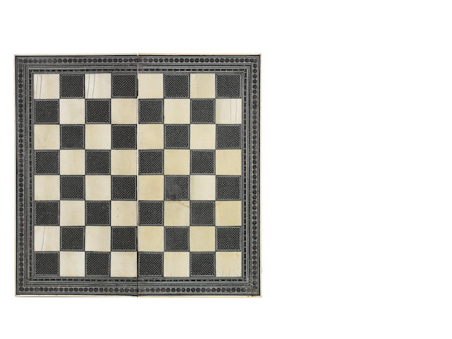 An Indian ivory and sadeli-work games box/board, Surat, circa 1865,