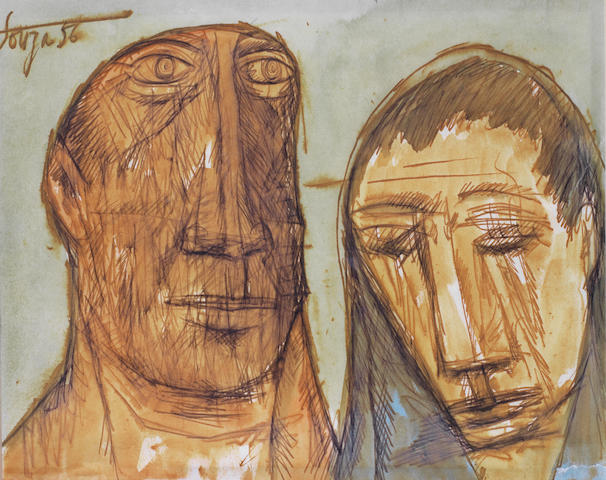 Francis Newton Souza (India, 1924-2002) Untitled (Man and Woman Portrait),