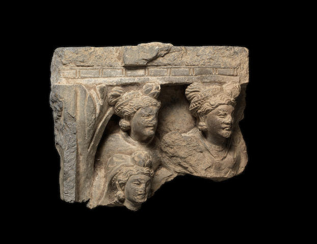 A grey schist architectural Fragment Gandhara, 3rd/4th Century