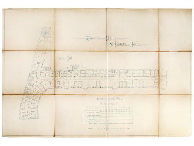 "ST. PANCRAS HOTEL, LONDON [SCOTT (GEORGE GILBERT)] ""Midland Railway - St. Pancras Hotel"", album of blueprint plans, [1870s]"
