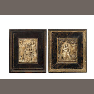 Two 17th century Malines carved alabaster and parcel gilt reliefs