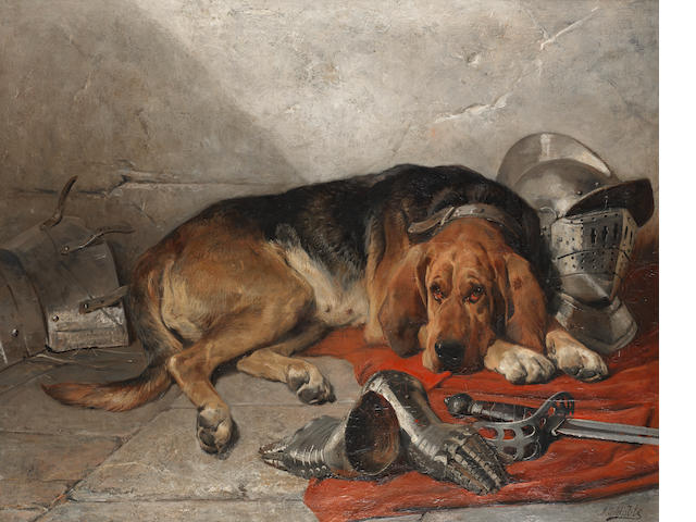 John Sargent Noble, RBA (British, 1848-1896) The faithful servant 40 x 50 in. (101.6 x 127.0 cm.)