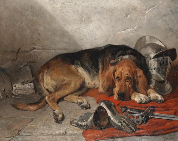 John Sargent Noble, RBA (British, 1848-1896) The faithful servant 40 x 50 in. (101.6 x 127.0 cm.)