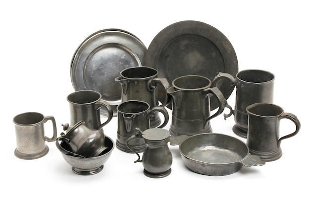 A collection of 18th century and later pewter
